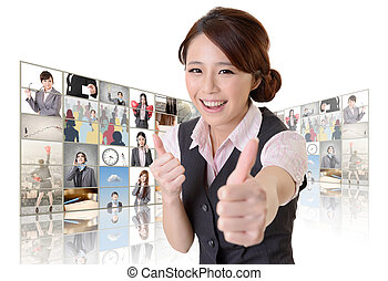 give you a excellent sign - Confident Asian business woman ...