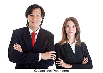 Confident Asian Man Caucasian Woman Business Suits Arms Crossed