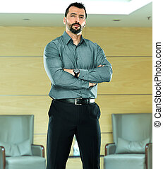 Confident bearded business man