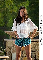 Confident beautiful brunette fashion model - Beautiful...