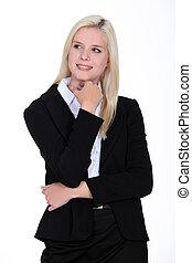 Confident blond business woman
