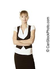 Confident blonde businesswoman