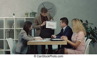 Confident boss talking to employees giving tasks