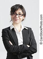Confident brunette businesswoman