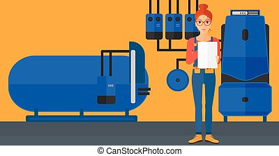A woman making some notes in her tablet on a background of domestic household boiler room with heating system and pipes vector flat design illustration. Horizontal layout.
