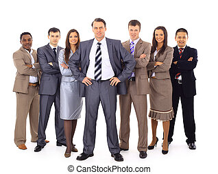 Confident business executive with his team in the background