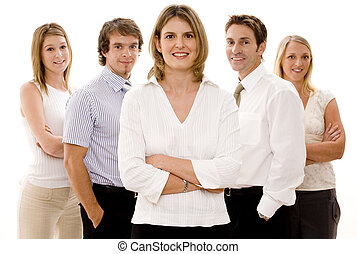Confident Business - Five confident business people on white...