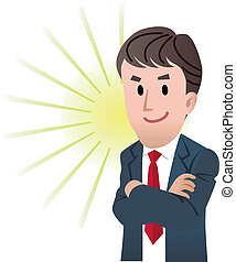 Confident business man - Vector illustration of Confident...