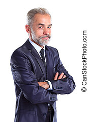 Confident business man in suit isolated on white background