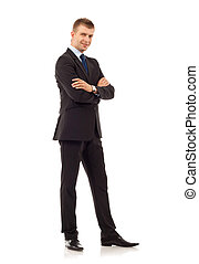 confident business man - full body picture of a confident...