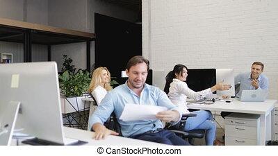 Confident Business Man Put Legs On Desk, Throw Away...