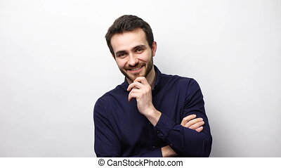 Confident business man smiling at camera