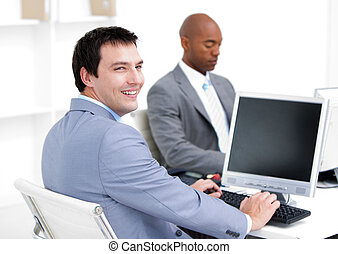 Confident business partners working