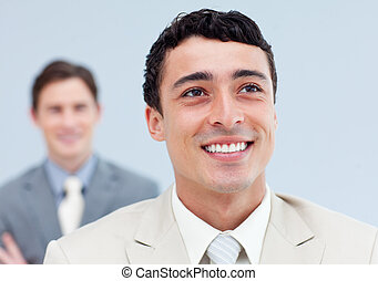 Confident business people standing in a row