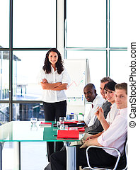 Confident business team after a presentation