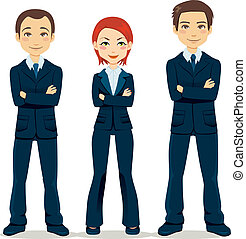 Confident Business Team - Confident team of three business...