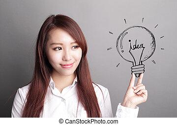 business woman hold light bulb