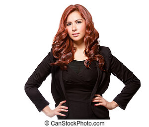 Confident business woman in black outfit