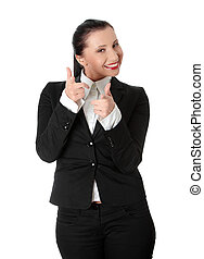 Confident business woman pointing at You