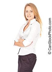 Confident business woman smiling