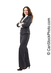 Confident business woman standing full length in black suit. Businesswoman or real estate agent isolated on white background.