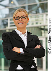 Confident business woman with glasses