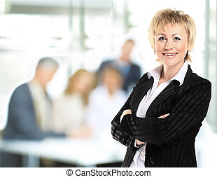 confident business woman with team