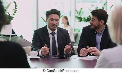 Confident businessman ceo wear suit negotiating with ...