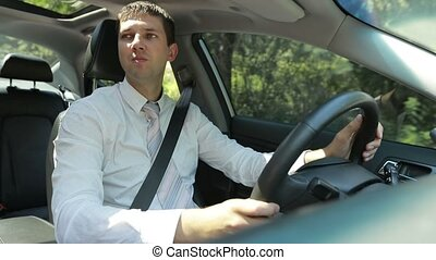Confident businessman driving car in countryside