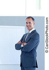 Confident businessman giving a presentation