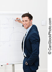 Confident businessman giving a presentation as he stands in...