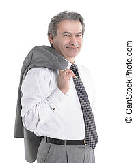confident businessman holding a jacket over his shoulder .isolated on white background
