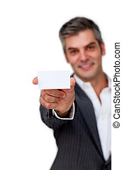 Confident businessman holding a white card