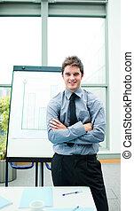 Confident businessman in a presentation