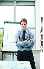 Confident businessman in a presentation