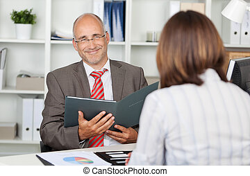 confident businessman in interview