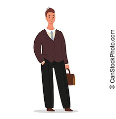 Confident businessman is standing with a briefcase in hand. Office worker or entrepreneur character design isolated on white background, vector cartoon illustration