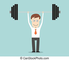 Confident businessman lifting a heavy barbell