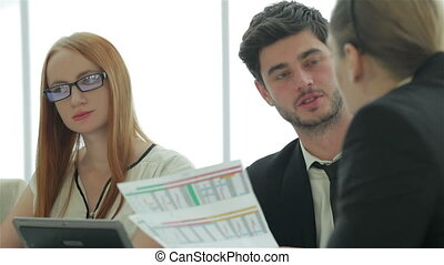 Confident businessman looking at the head