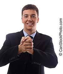 confident businessman making a welcoming gesture