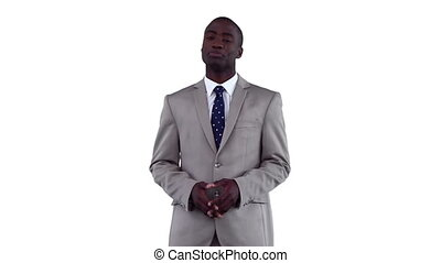 Confident businessman making an announcement