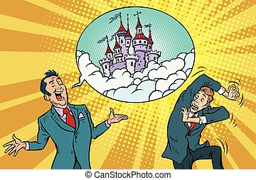 Confident businessman offers a man fabulous castle in the sky