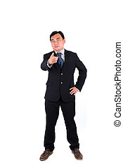 Confident businessman pointing isolated on white.