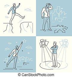 Confident businessman - set of line design style illustrations