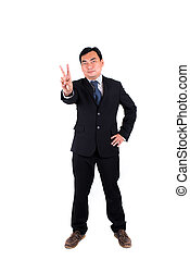 Confident businessman showing 2 fingers isolated on white.