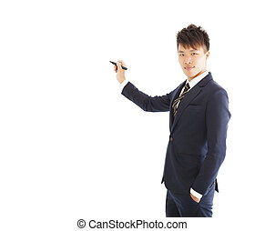 confident businessman standing and holding a pencil