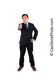 Confident businessman thumb up isolated on white.