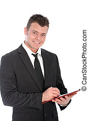 Confident businessman with a clipboard
