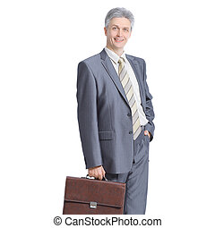 confident businessman with a leather briefcase. isolated on white background