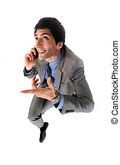 Confident businessman with mobile